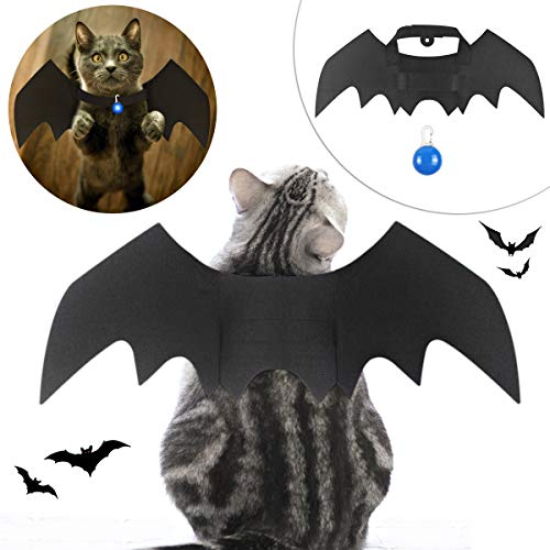 Cat Costumes Pets (Mitcien cat Halloween Costumes, Dog Halloween Costumes Halloween Pet Costume pet Supplies pet bat Wings Cat Bat Wings Dog Costume Vampire Wings Fancy Dress Costume Outfit Bat Wings with led)