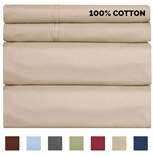 100% Cotton Sheets - King Size Cotton Sheets - 400 Thread Count King Size Sheets - Long Staple King Cotton - 400 TC King Sheet Set - Organic Cotton bed Sheet Set - Pure Cotton King - High Thread Count (King Bed Cotton Sheets)