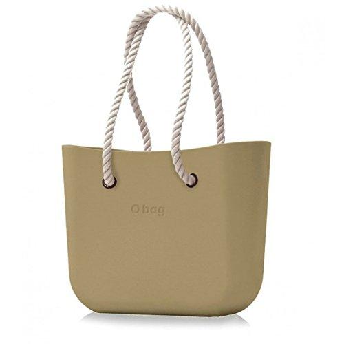 Borsa o bag grande sabbia con sacca e manico lungo in corda bianco new collection AI 20178 (k)