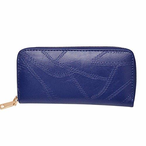 Women Wallet, Han Shi Women National Wind Printing Zipper Coin Purse Long Wallet Card Holders Handbag Flexible Wallet Large Travel Working Purse Pocket (Blue)