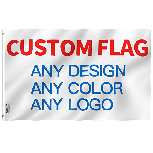 Anley Double Sided Custom Flag 3x5 Ft for Outdoors - Print Your Own Logo/Design/Words - Vivid Color, Canvas Header and Double Stitched - Customized Two Side Flags Banners with Brass Grommets 3 X 5 Ft]()