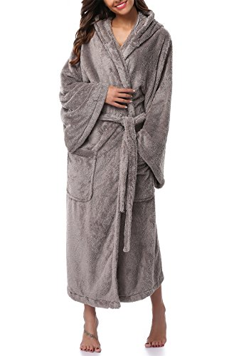 (VIKEY Women's Plush Coral Velvet Robe Cozy Long Hooded Bathrobe Nightgown Light Grey M/L)
