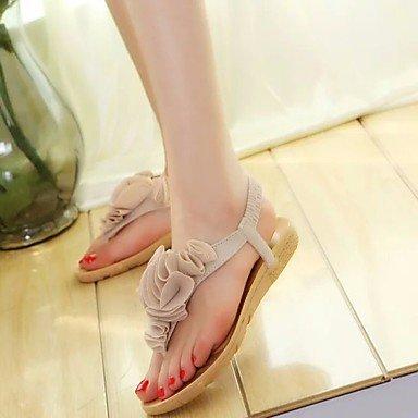 FSCHOOLY Womens Zapatos Pu Primavera Otoño Comfort Sandalias De Tacón Bajo Para Ocasionales De Vino Negro Beige Beige