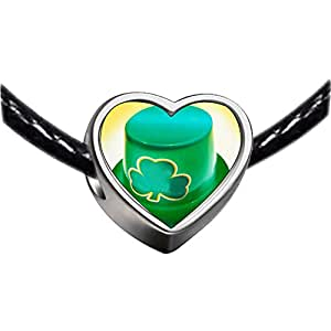 Chicforest Silver Plated green Ireland shamrock hat Photo Heart Charm Beads Fits Pandora Charms