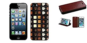 Combo pack Cellet Black Proguard Case with Chocolate for Apple iPhone 5 And MYBAT Brown Crazy Horse PU MyJacket Wallet(with Tray)(562) (with Package) for APPLE iPhone 5 APPLE iPhone 5s