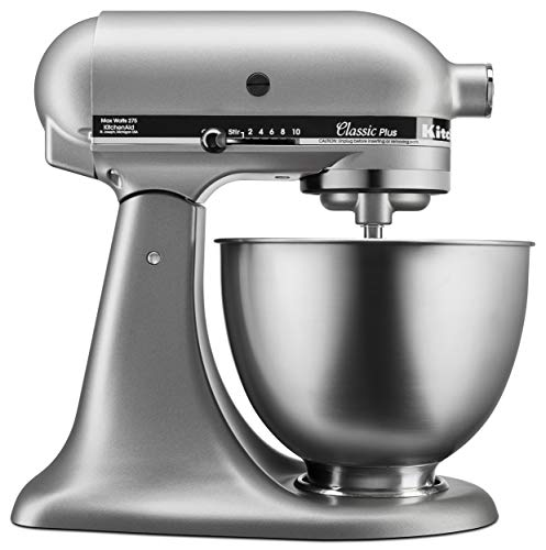 KitchenAid KSM75SL Classic Plus 4.5-Qt. Tilt-Head Stand Mixer, Silver (Best Stand Mixer For The Money)