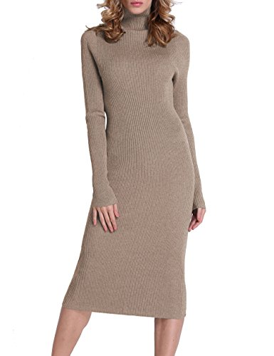 Rocorose Women's Turtleneck Ribbed Elbow Long Sleeve Knit Sweater Dress Camel XXL