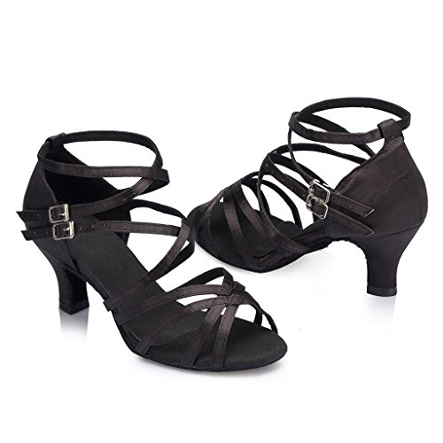 Crc Donna Open Toe Stile Croce-body-tracolla Raso Da Ballo Morden Tango Party Wedding Sandali Da Danza Professionale Nero