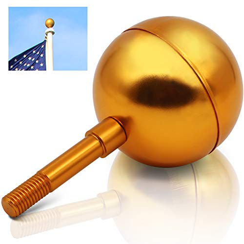 - Anley Authentic Flagpole Ball Top Ornament Replacement - Gold Anodized Aluminum Finish - 3 Inch - Designed for USA Flag - Fit All Standard US Flag Poles Only