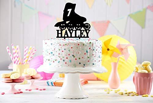 Roller Skate, Birthday Cake Topper, Cake Topper, Funny Cake Topper, Birthday Decoration, Name Cake Topper, Birthday Cake, Gold Glitter -