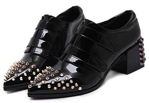 IDIFU Womens Unique Mid Chunky Heels Hook And Loop Low Top Boots With Rivets Black C2MR2w
