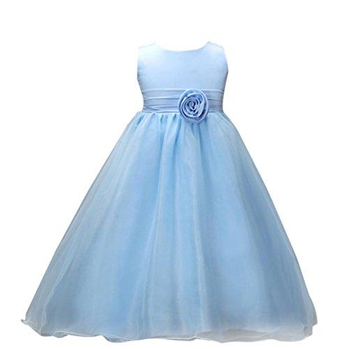 Kstare Kids Baby Girls Bridesmaid Lace Flower Boho Birthday Wedding Pageant Princess Formal Dress (4T, Blue)