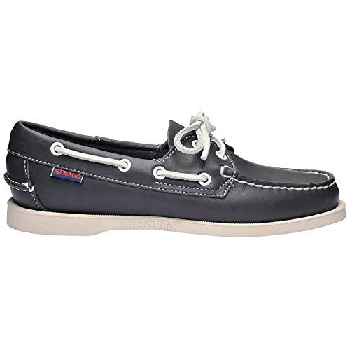 Sebago Women's Docksides Blue Nite Leather Casual Boat Shoes Flats, 7.5 W