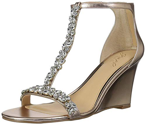 Badgley Mischka Jewel Women's Meryl Wedge Sandal, Rose Gold/Metallic, 10 M - Sandals Jewel Metallic