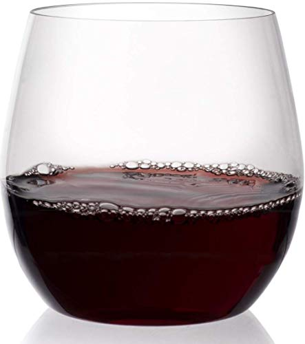 Circleware 55490 Downtown Stemless Wine Lead-Free Glass Cups for Bar, Water, Juice, Whiskey & Beverage Drinks, 12 oz