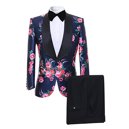 Cloudstyle Mens Suit Fit 2-Piece Single Breasted Blazer Floral Dress Tuxedo Party Formal Jacket&Trousers by Cloudstyle