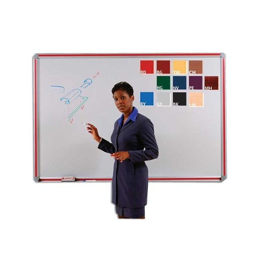Magnetic Porcelain Markerboard with Inserts 48'' x 48'' Aluminum Frame/Red Insert by Ghent