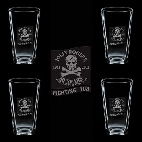 (US Navy VF-103 Fighting 103 Jolly Rogers SSI 4 GLASS SET)