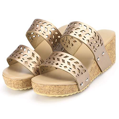 (Hpapadks simple wedge shoes waterproof platform shoes peep toe slipper hollow carved sandals (Glod, US:6.5))