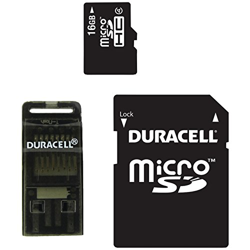 Duracell 16GB Class 4 MicroSD Card with SD and USB Adapters (DU-3IN1-16G-R)