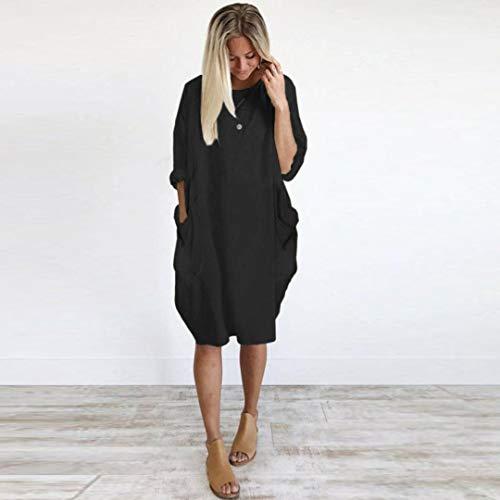 Neck Dress Size Loose Crew Long Black Ladies Tops Pocket Womens Casual Plus xaqgn0