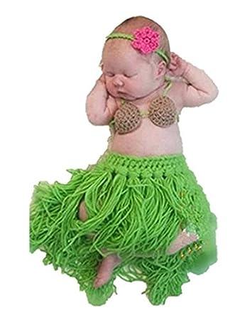 16c19a5334132 Eyourhappy Baby Newborn Handmade Knitted Crochet Grass Skirt Costume Baby  Photograph Props Hula Dance Of Hawaii