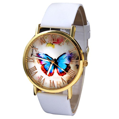 Aobiny Butterfly Style Watch, Womens Fashion Butterfly Style Leather Band Analog Quartz Wrist Watch (White) Style Alloy Analog