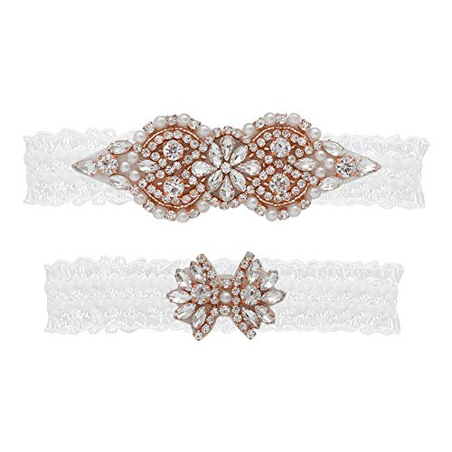(yanstar Wedding Bridal Garter White Stretch Lace Bridal Garter Sets with Rose Gold Rhinestone Pearl for Wedding and Prom)