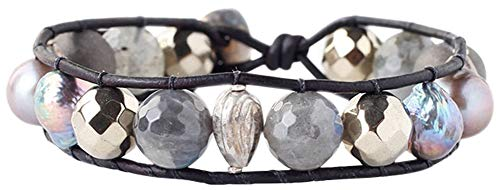 Chan Luu Pyrite Mix Freshwater Cultured Baroque Pearl Single Wrap Bracelet
