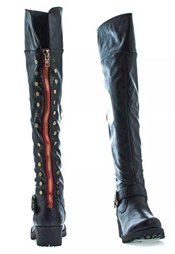 Bambou Womens Femmes Premium Letherette Sur Le Genou Zip Up Clouté Lug Semelle Moteur Bottes Capture04 Pu Noir