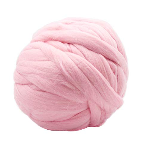 2.2lbs Chunky Yarn Giant Yarn Super Bulky Yarns 100% Merino Wool Yarn Ball for Arm Knitting DIY Throw Blankets,Scarfs, Cardigans,pet beds etc (Light Pink) (Knitting Yarn Wool Knitting)