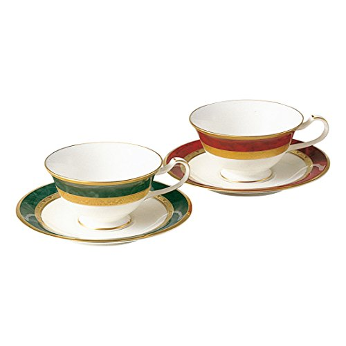 Noritake bone china Fitzgerald tea and coffee porcelain bowl plate pair set (switched colors) Y6988/47332 (japan import) (Japan Porcelain Plates China)