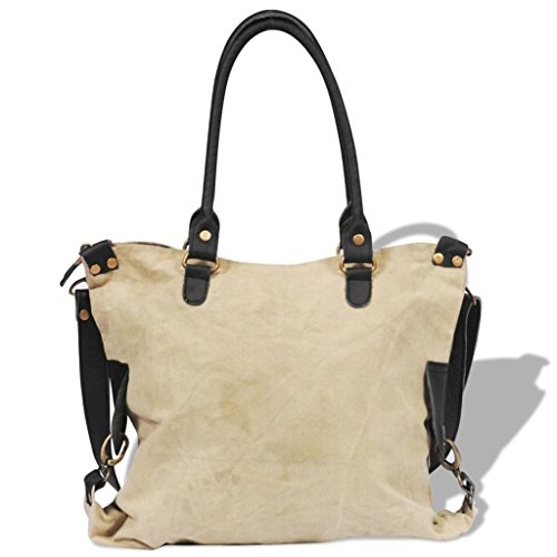 With Shopper Real Bag Leather Star Beige Canvas qRaHgw7