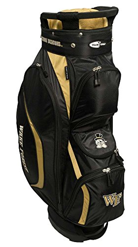 Team Golf NCAA Wake Forest Demon Deacons Clubhouse Golf Cart Bag, Lightweight, 8-Way Top with Integrated Handle, 6 Zippered Pockets, Padded Strap, Towel Ring, Umbrella Holder & Removable Rain Hood