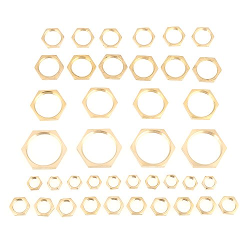 Hex Lock Nuts, Brass Lock Nut Assortment 40pcs G1/8 G1/4 G3/8 G1/2 G3/4 G1 Thread Pipe Fitting Brass Hex Lock Nuts by GLOGLOW