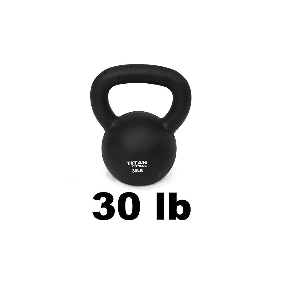 Titan Fitness Cast Iron Kettlebell Weight 30 Lbs Natural Solid Workout Swing