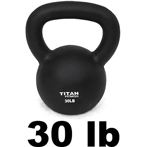 Cast Iron Kettlebell Weight 30 Lbs Natural Solid Titan Fitness Workout Swing