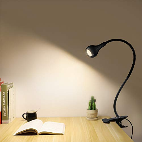 1 W Eye-Care LED Table Lamp, LED Desk Lamp Flexible with USB Port,AIMENGTE LED Reading Lamp with Holder Clips,360° Free Bending LED Study Book Light Night Lamp Bulb. (Black Shell_Warm White)
