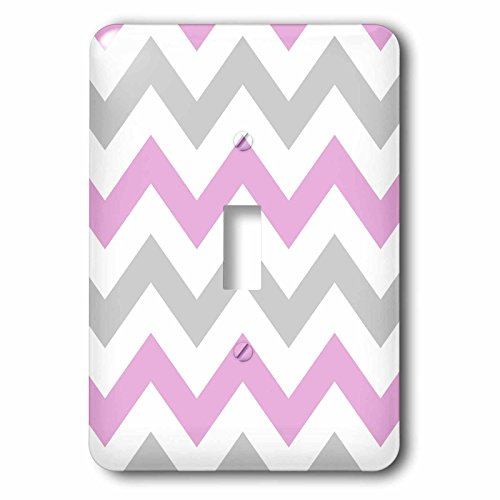 3dRose lsp_179792_1 Pink and Grey Chevron Zig Zag Pattern White Pastel Zigzag Stripes Light Switch (Pastel Pink Stripe)
