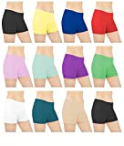 Sexy Basics Womens 6 Pack Cotton Spandex Sheer Mini Bike Yoga Boyshort Boxer Brief, Medium, Assorted Colors