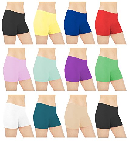 Sexy Basics Womens 6 Pack Cotton Spandex Sheer Mini Bike Yoga Boyshort Boxer Brief, Assorted Colors, (Bike Boxer Shorts)