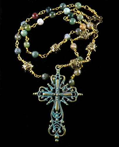 Anglican Episcopal Protestant Rosary Verdigris Filigree Cross Green Agate and Gold Tone Handmade Unbreakable ()