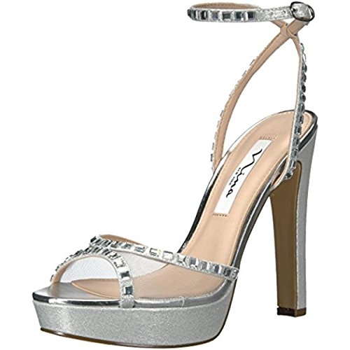 Heels Metallic Nina (Nina Women's Myrna Dress Sandal, Ym-Silver/Silver, 6 M US)