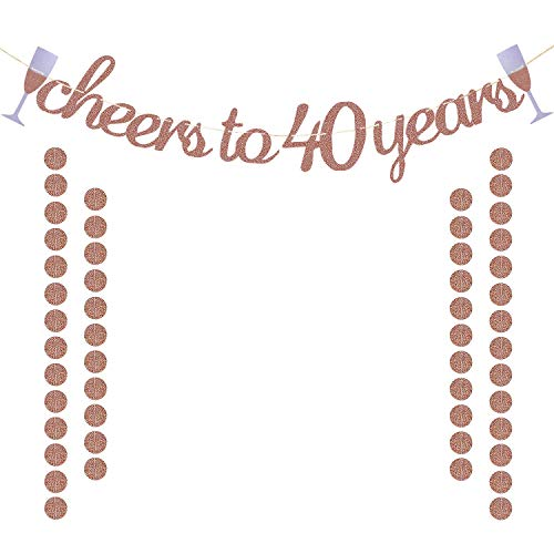 Glittery Rose Gold Cheers to 40 Years Banner for 40th Birthday Wedding Anniversary Party Decorations Supplies | Extra Rose Gold Glittery Circle Dots Garland