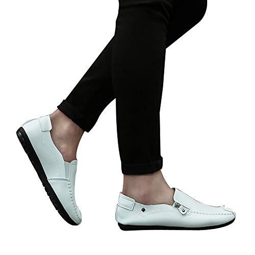 ALIKEEYLos Cuero Puntera Zapatos Hombres Blanco Talon Boca Redonda Color Solido De Superficial Coser Plano De rqrgwASn