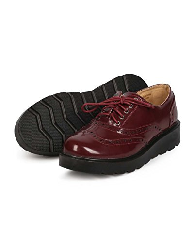 Lace 03 Spectator Burgundy Burgundy Polished Up Venus Wedge Refresh Women Wingtip Oxford TSwI4Zxaq