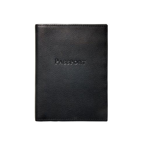 Traditional Leather Passport Holder, Black