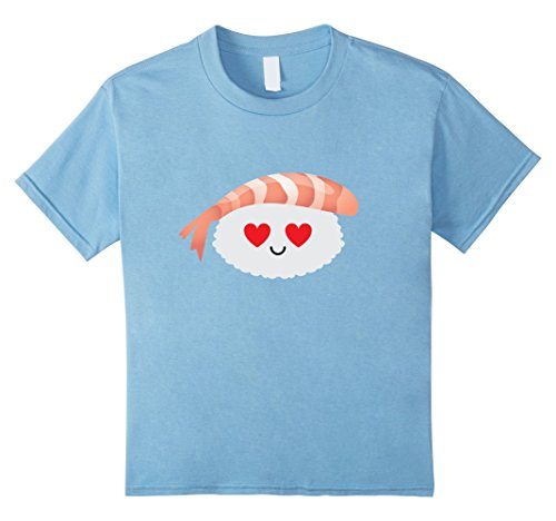 [Kids Prawn Shrimp Sushi Emoji Heart & Love Eye Shirt T-Shirt Tee 4 Baby Blue] (Baby Shrimp Sushi Costume)