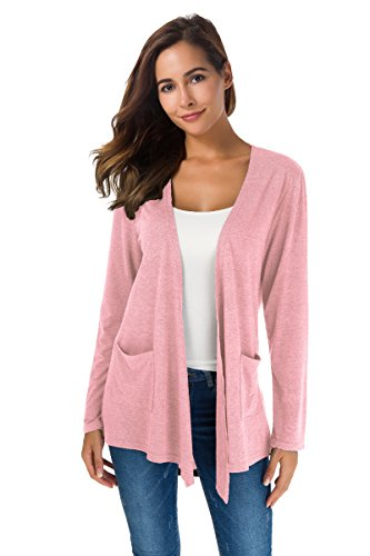 XINAO Women's Open Front Casual Comfy Flowy Long Line Modal Cardigan (M, Pink) by XINAO