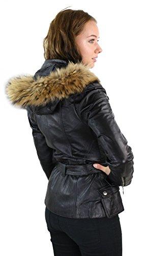 Lunga Con Cappuccio Da Pelle L Donna In Pelliccia Nero Giacca Vera Invernale 1HOwHq